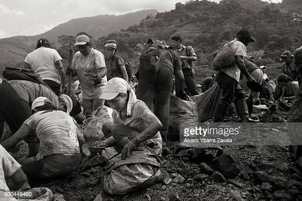 Guaqueros working in the washing area where the owners of the mine throw the discarded washed rocks The guaqueria trade is in crisis Since Colombia's...