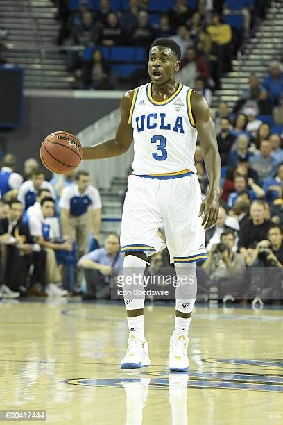 UCLA guard Aaron Holiday brings the ball up the court during an NCAA basketball game between the UC Santa Barbara Gauchos and the UCLA Bruins on...