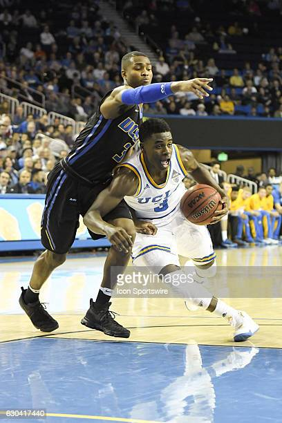 UCLA guard Aaron Holiday drives to the basket during an NCAA basketball game between the UC Santa Barbara Gauchos and the UCLA Bruins on December 14...