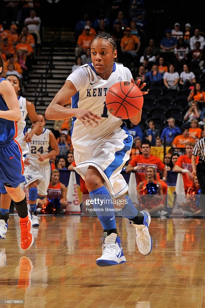 Guard A'dia Mathies of the Kentucky Wildcats plays against the Florida Gators during the quarterfinals of the SEC Women's Basketball Tournament at...