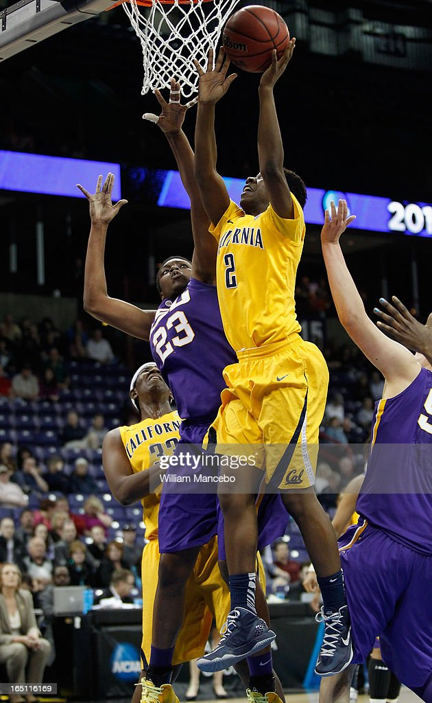 Guard Afure Jemerigbe #2 of the California Golden Bears goes to the hoop against forward Shanece McKenny #23 of the LSU Lady Tigers in the second half during the NCAA Division I Women's Basketball Regional Championship at Spokane Arena on March 30, 2013 in Spokane, Washington. The Golden Bears defeated the Lady Tigers 73-63.