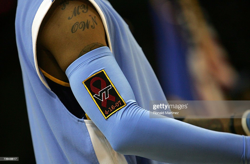 Guard Allen Iverson #3 of the Denver Nuggets wears a Virginia Tech University patch on his armband in honor of those who were killed on April 16, 2007, before Game One of the Western Conference Quarterfinals during the 2007 NBA Playoffs at AT&T Center on April 22, 2007 in San Antonio, Texas.