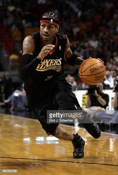 Guard Allen Iverson of the Philadelphia 76ers drives to the basket against the Miami Heat on November 18 2005 at the American Airlines Arena in Miami...