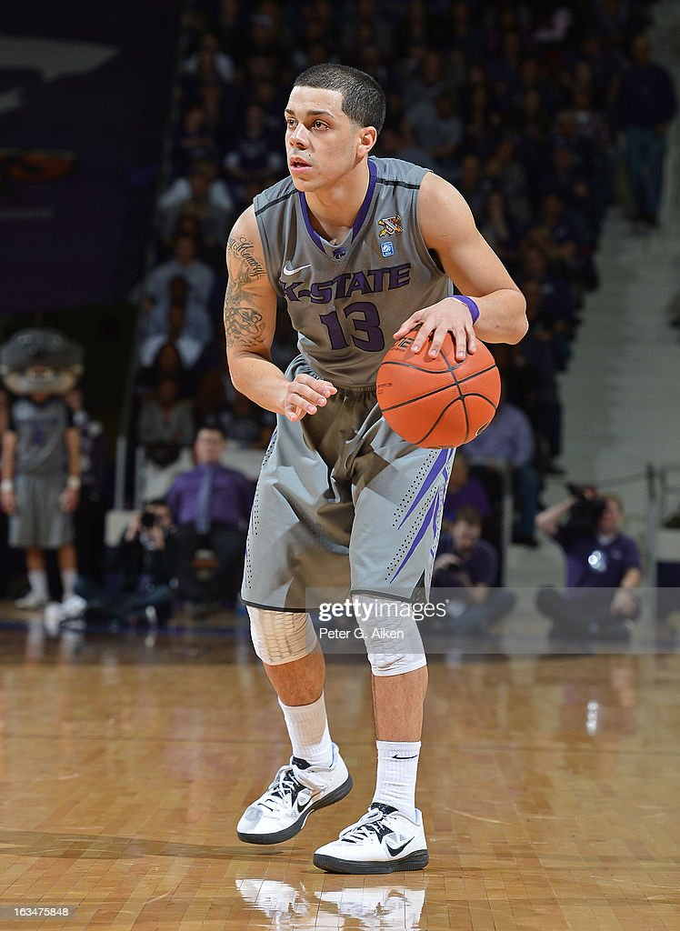 Guard Angel Rodriguez #13 of the Kansas State Wildcats brings the ball up court against the Texas Christian Horned Frogs during the second half on March 5, 2013 at Bramlage Coliseum in Manhattan, Kansas.