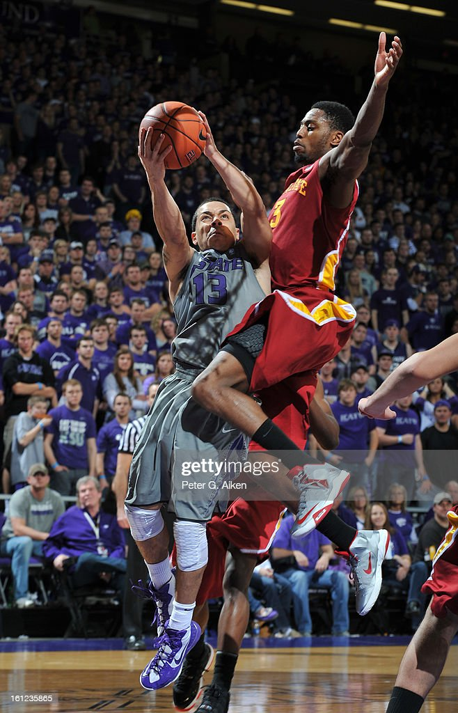 Guard Angel Rodriguez #13 of the Kansas State Wildcats drives to the basket against forward Melvin Ejim #3 of the Iowa State Cyclones during the second half on February 9, 2013 at Bramlage Coliseum in Manhattan, Kansas. Kansas State defeated Iowa State 79-70.