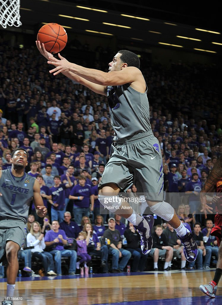 Guard Angel Rodriguez #13 of the Kansas State Wildcats drives to the basket against the Iowa State Cyclones during the second half on February 9, 2013 at Bramlage Coliseum in Manhattan, Kansas. Kansas State defeated Iowa State 79-70.