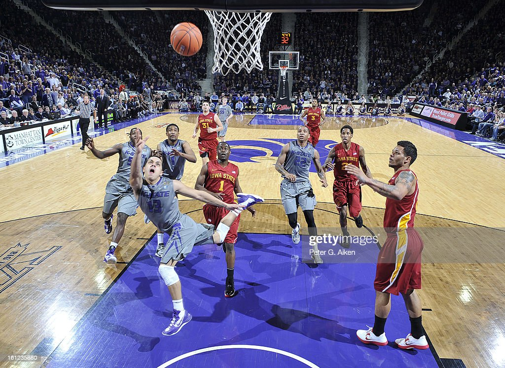 Guard Angel Rodriguez #13 of the Kansas State Wildcats flips the ball up to the basket against the Iowa State Cyclones during the first half on February 9, 2013 at Bramlage Coliseum in Manhattan, Kansas. Kansas State defeated Iowa State 79-70.