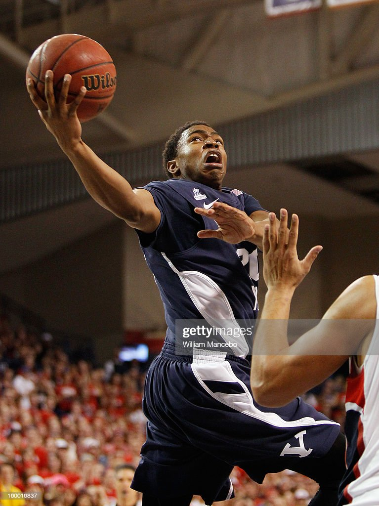 Guard Anson Winder #20 of the BYU Cougars in action against the Gonzaga Bulldogs during the second half of the game at McCarthey Athletic Center on January 24, 2013 in Spokane, Washington.
