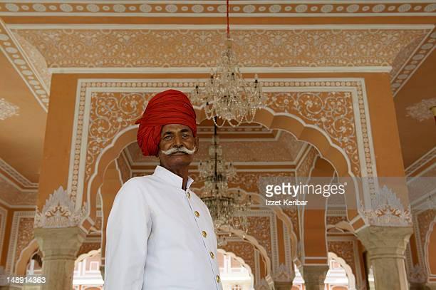 Guard at entrance of Amber Palace.