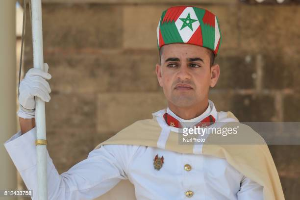 A Guard at the entrance to the Mausoleum of Mohammed V in Rabat On Friday June 30 in Rabat Morocco