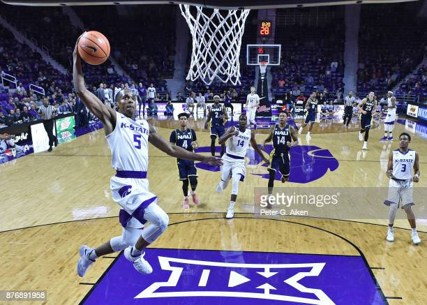 Guard Barry Brown of the Kansas State Wildcats drives in for a basket against the Northern Arizona Lumberjacks during the first half on November 20...