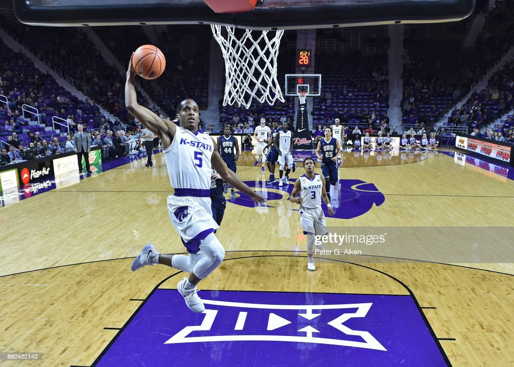 Guard Barry Brown #5 of the Kansas State Wildcats drives to the basket for a dunk against the Oral Roberts Golden Eagles during the first half on November 29, 2017 at Bramlage Coliseum in Manhattan, Kansas.