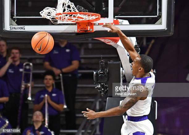 Guard Barry Brown of the Kansas State Wildcats dunks the ball against the Northern Arizona Lumberjacks during the first half on November 20 2017 at...