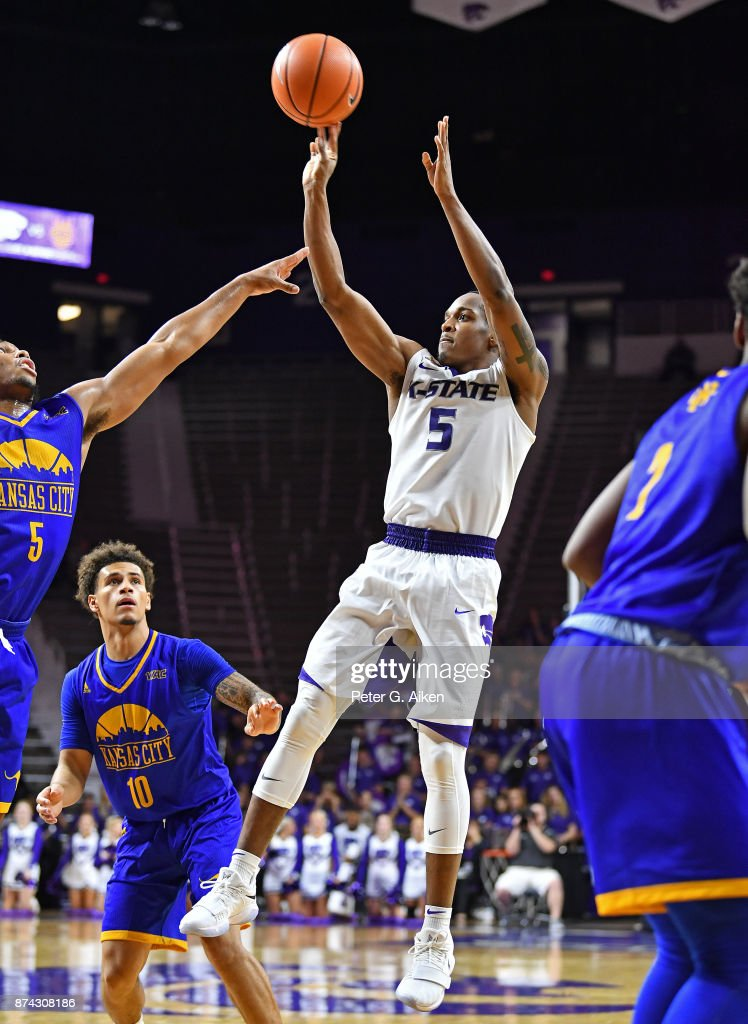 Guard Barry Brown #5 of the Kansas State Wildcats puts up a shot against the Missouri-Kansas City Kangaroos during the second half on November 14, 2017 at Bramlage Coliseum in Manhattan, Kansas.