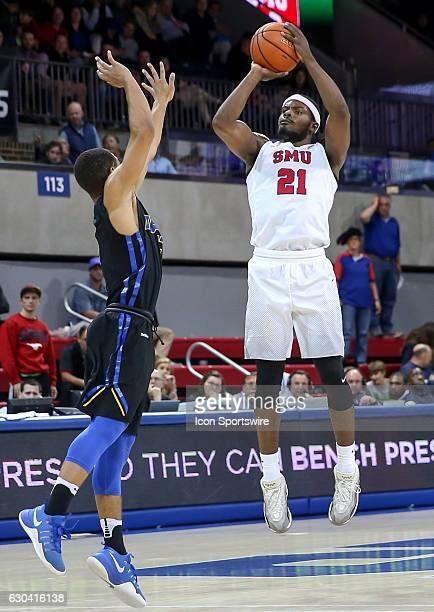 SMU guard Ben Emelogu attempts a shot during the NCAA men's basketball game between SMU Mustangs and UC Santa Barbara Gauchos on November 22 2016 at...
