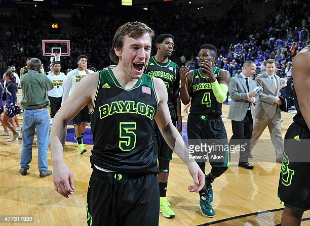 Guard Brady Heslip of the Baylor Bears reacts after beating the Kansas State Wildcats on March 8 2014 at Bramlage Coliseum in Manhattan Kansas Baylor...