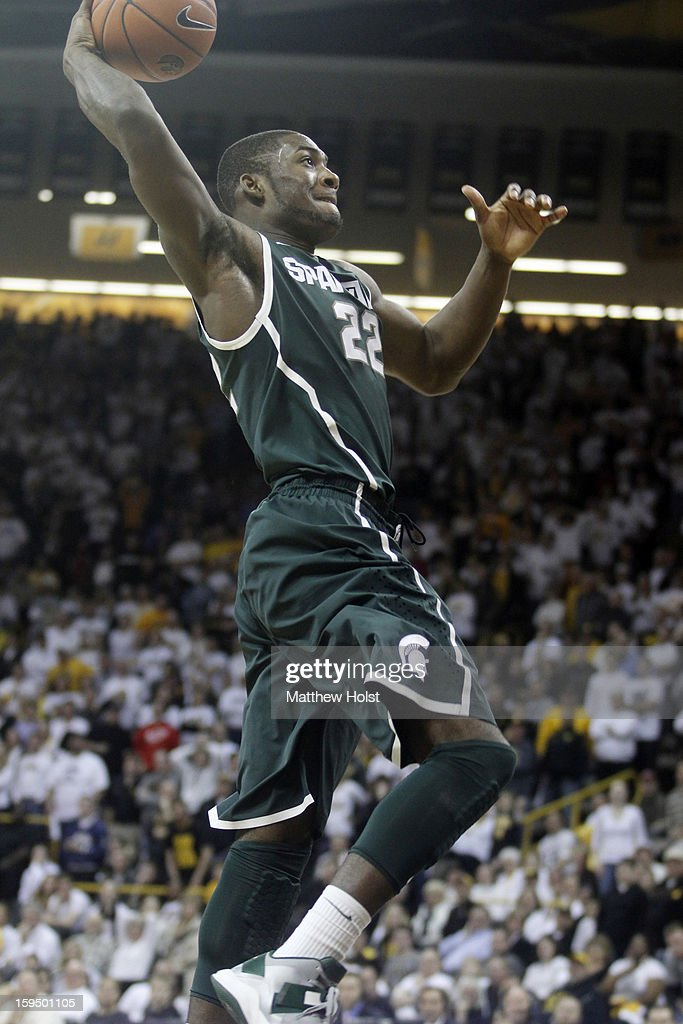 Guard Branden Dawson #22 of the Michigan State Spartans drives to the basket in the second half against the Iowa Hawkeyes on January 10, 2013 at Carver-Hawkeye Arena in Iowa City, Iowa. Michigan State won 62-59.