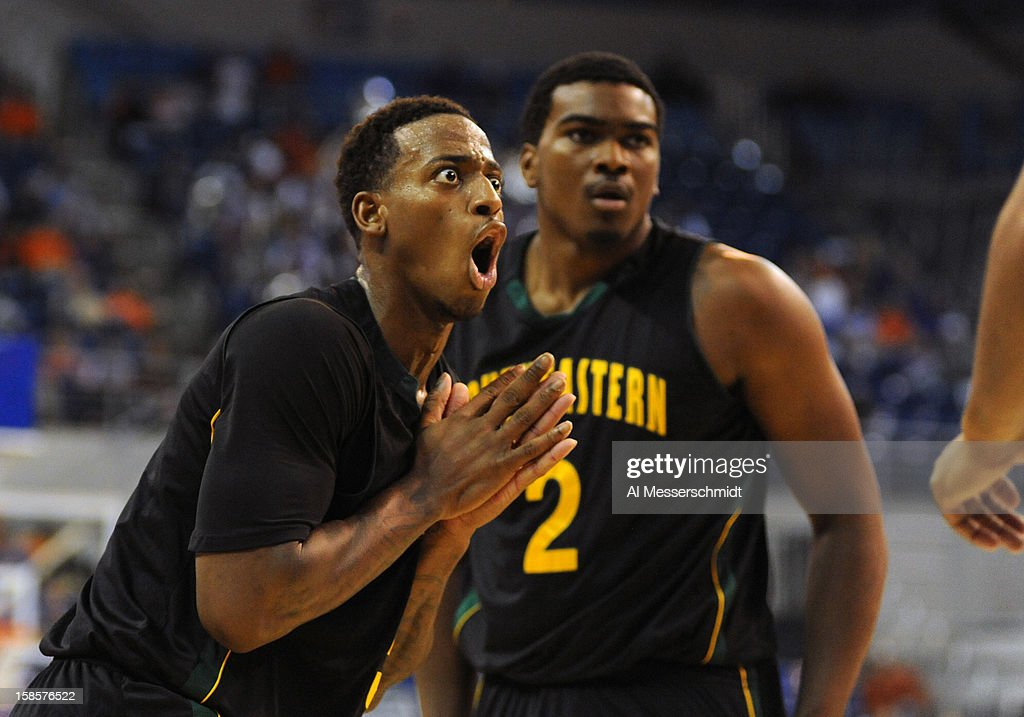 Guard Brandon Fortenberry #5 of the Southeastern Louisiana Lions reacts to a foul against the Florida Gators December 19, 2012 at Stephen C. O'Connell Center in Gainesville, Florida. Florida won 82 - 43.