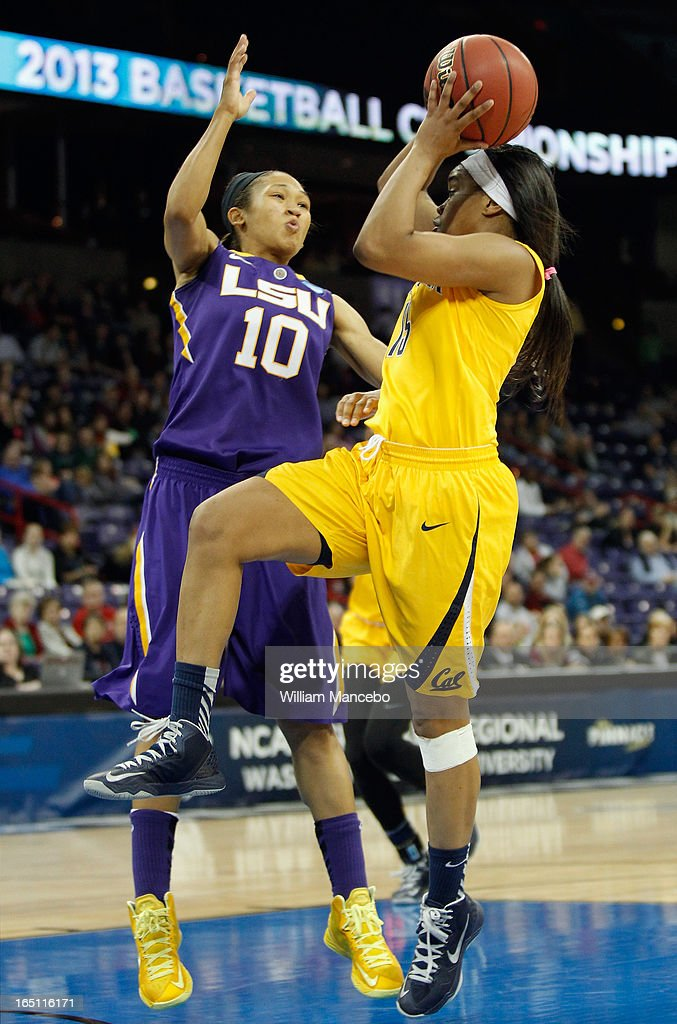 Guard Brittany Boyd #15 of the California Golden Bears makes a goal attempt while guard Adrienne Webb #10 of the LSU Lady Tigers defends in the second half during the NCAA Division I Women's Basketball Regional Championship at Spokane Arena on March 30, 2013 in Spokane, Washington. The Golden Bears defeated the Lady Tigers 73-63.