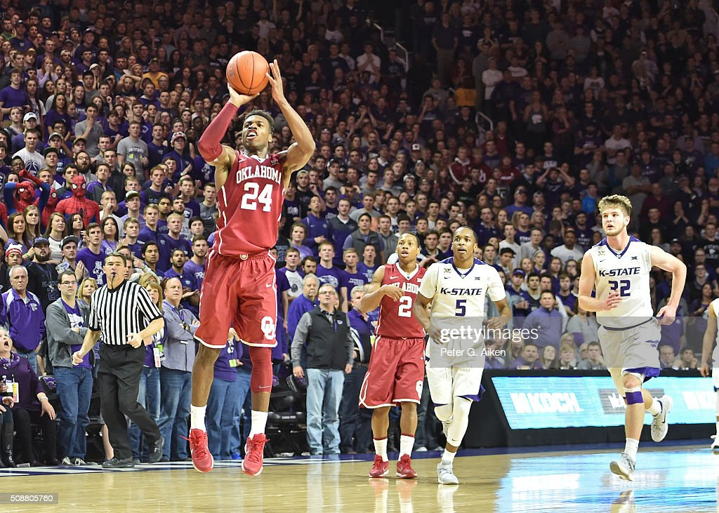 Guard Buddy Hield of the Oklahoma Sooners puts up a shot against the Kansas State Wildcats during the first half on February 6 2016 at Bramlage...