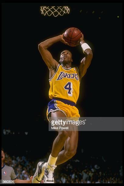 Guard Byron Scott of the Los Angeles Lakers goes up for two during a game Mandatory Credit Mike Powell /Allsport Mandatory Credit Mike Powell...