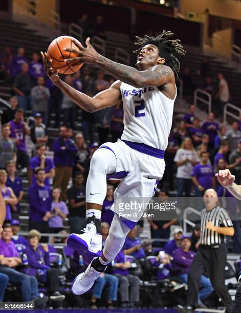 Guard Cartier Diarra of the Kansas State Wildcats drives to the basket for a lay up against the CaliforniaIrvine Anteaters during the second half on...