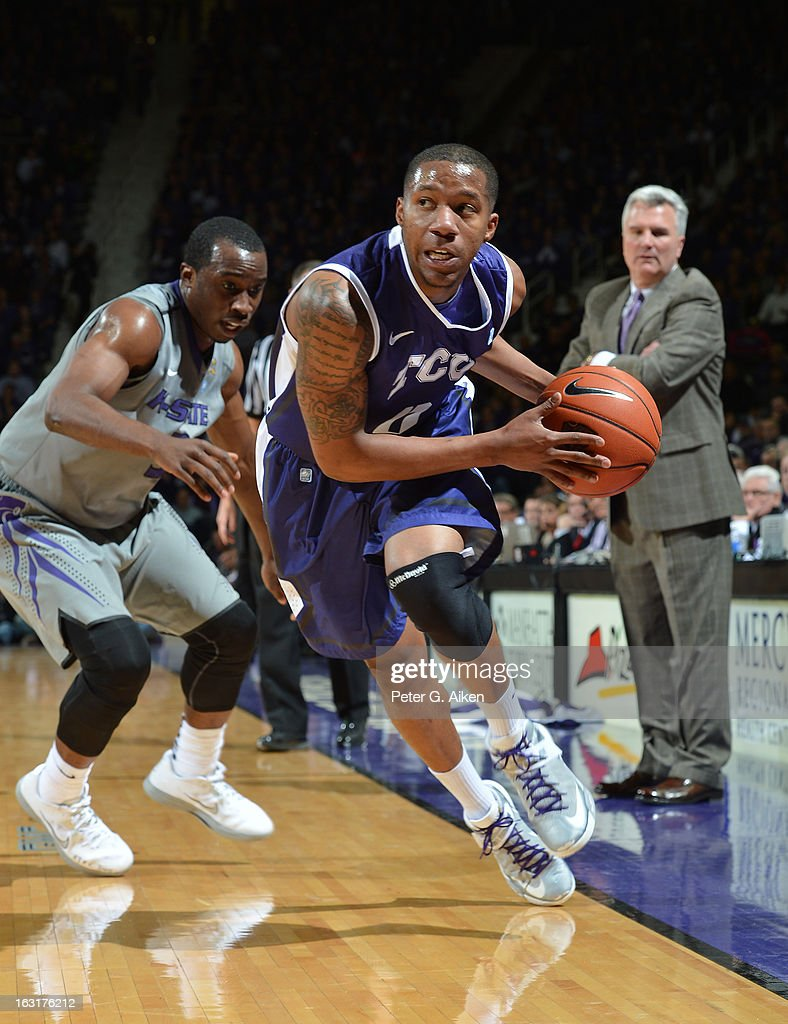 Guard Charles Hill #0 of the Texas Christian Horned Frogs drives up the sideline against the Kansas State Wildcats during the first half on March 5, 2013 at Bramlage Coliseum in Manhattan, Kansas.