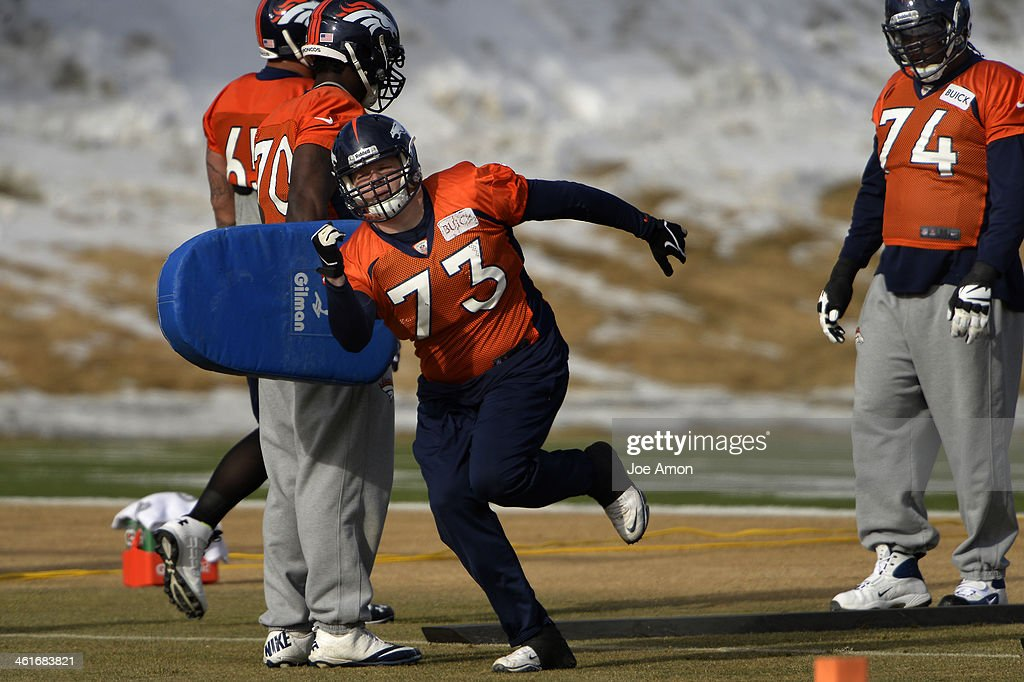 Guard <a gi-track='captionPersonalityLinkClicked' href=/galleries/search?phrase=Chris+Kuper&family=editorial&specificpeople=469695 ng-click='$event.stopPropagation()'>Chris Kuper</a> #73 of the Denver Broncos running drills during practice at Dove Valley in Centennial January 10, 2014 Centennial, Colorado.