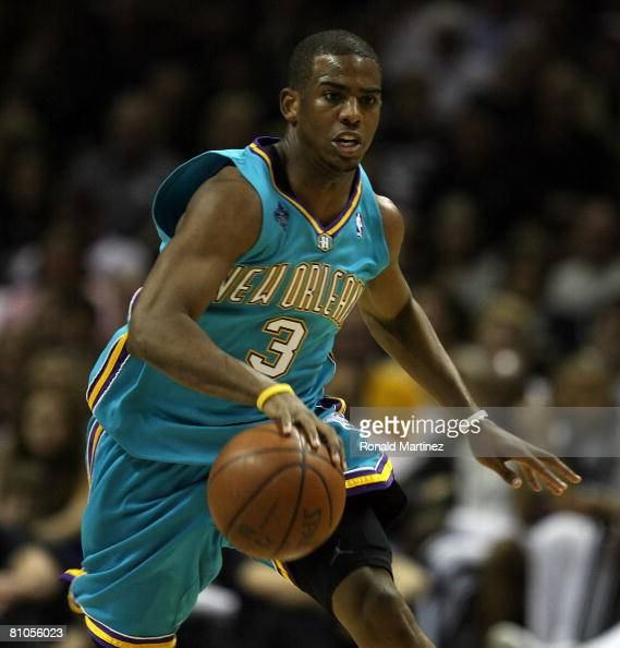 Guard Chris Paul of the New Orleans Hornets dribbles the ball upcourt against the San Antonio Spurs in Game Four of the Western Conference Semifinals...