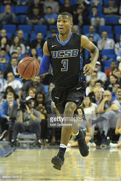 UCSB guard Clifton Powell brings the ball up the court during an NCAA basketball game between the UC Santa Barbara Gauchos and the UCLA Bruins on...