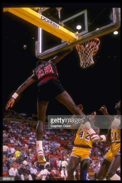 Guard Clyde Drexler of the Portland Trail Blazers looks for the ball during a game Mandatory Credit Stephen Dunn /Allsport Mandatory Credit Stephen...