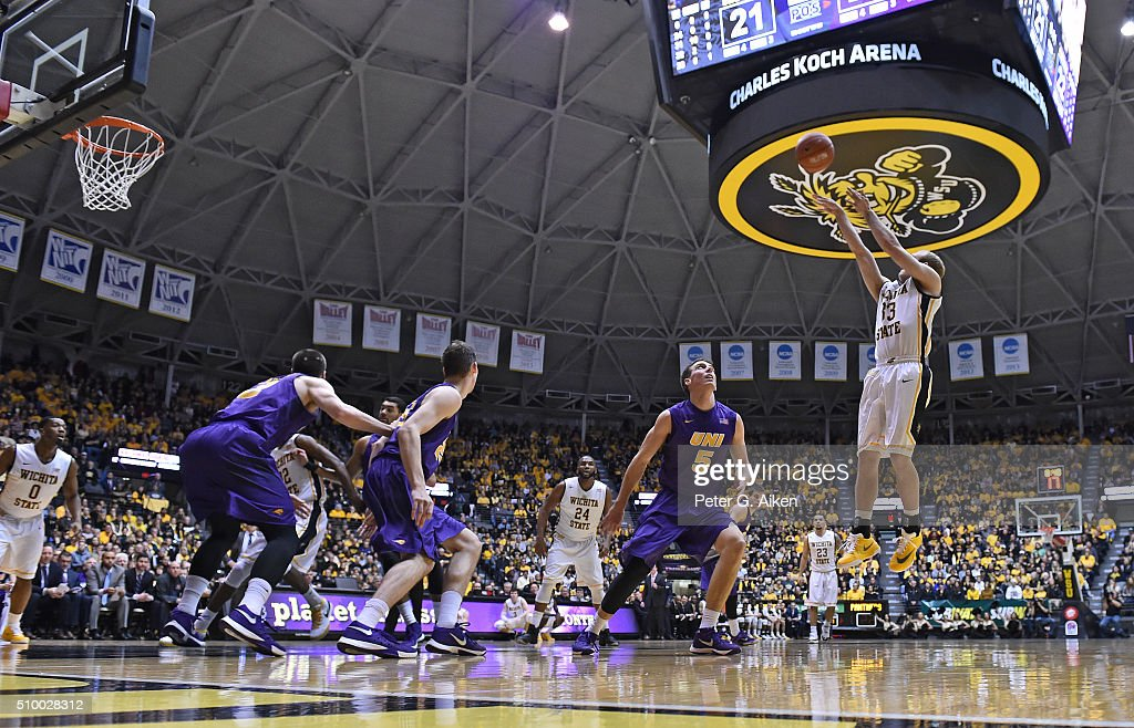 Guard Conner Frankamp #33 of the Wichita State Shockers shoots the ball over guard Matt Bohannon #5 of the Northern Iowa Panthers during the first half on February 13, 2016 at Charles Koch Arena in Wichita, Kansas. Northern Iowa defeated Wichita State 53-50.