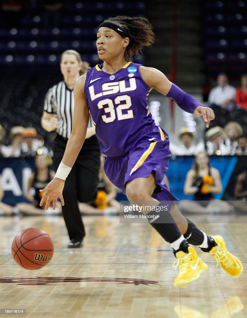 Guard Danielle Ballard #32 of the LSU Lady Tigers moves the ball towards the hoop against the California Golden Bears during the NCAA Division I Women's Basketball Regional Championship at Spokane Arena on March 30, 2013 in Spokane, Washington. The Golden Bears defeated the Lady Tigers 73-63.