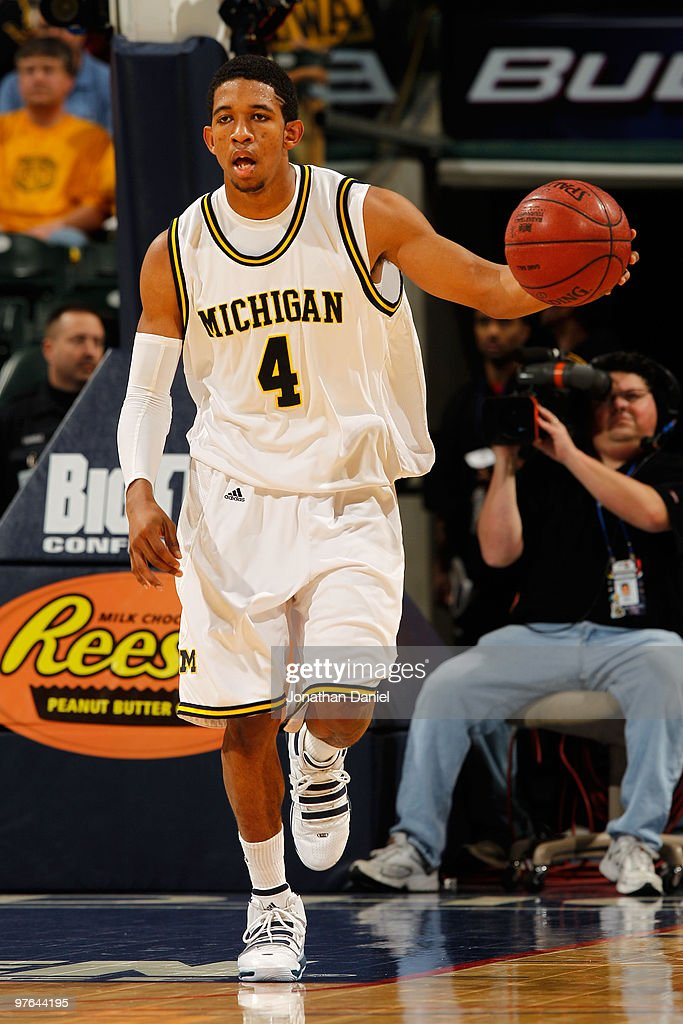 Guard Darius Morris #4 of the Michigan Wolverines drives with the ball against the Iowa Hawkeyes during the first round of the Big Ten Men's Basketball Tournament at Conseco Fieldhouse on March 11, 2010 in Indianapolis, Indiana.