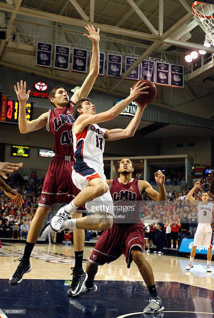 Guard David Stockton #11 of the Gonzaga Bulldogs goes up for a goal attempt during the second half of the game against the Marymount Lions at McCarthey Athletic Center on February 9, 2013 in Spokane, Washington.