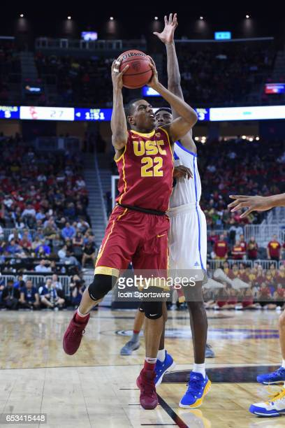 USC guard DeAnthony Melton attacks the basket during the quarterfinal game of the Pac12 Tournament between the UCLA Bruins and the USC Trojans on...