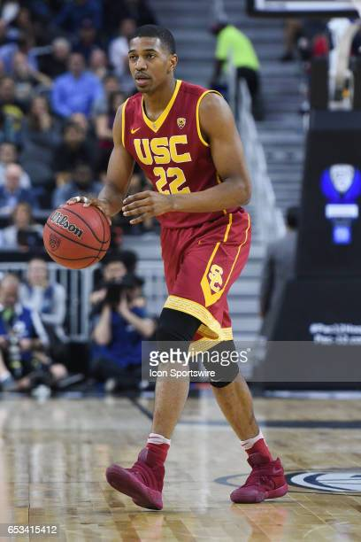 USC guard DeAnthony Melton brings the ball up the court during the quarterfinal game of the Pac12 Tournament between the UCLA Bruins and the USC...