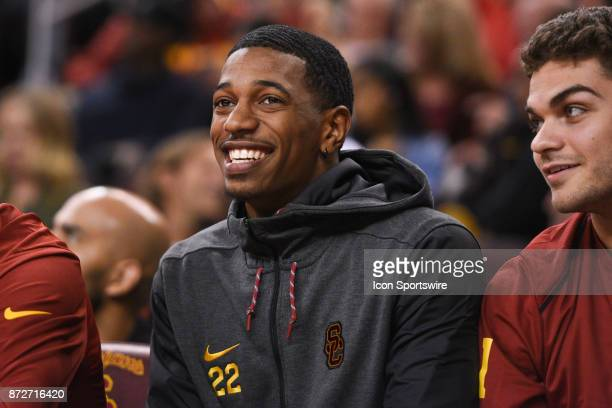 USC guard De'Anthony Melton looks on during a college basketball game between the Cal State Fullerton Titans and the USC Trojans on January 22 at the...
