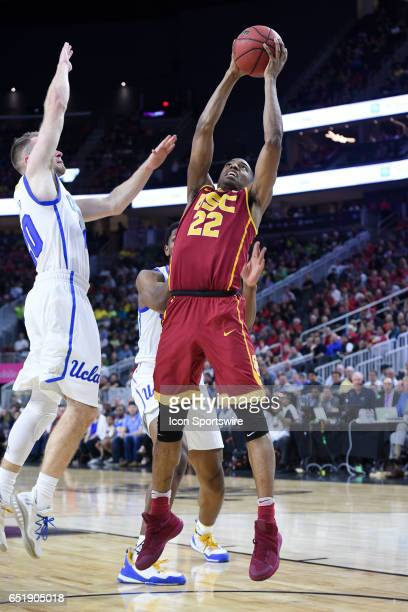 USC guard DeAnthony Melton rises up for a shot during the quarterfinal game of the Pac12 Tournament between the UCLA Bruins and the USC Trojans on...