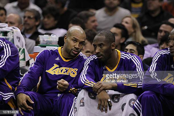 Guard Derek Fisher and Kobe Bryant of the Los Angeles Lakers at ATT Center on December 28 2010 in San Antonio Texas NOTE TO USER User expressly...