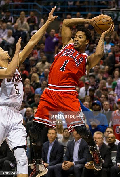 Guard Derrick Rose of the Chicago Bulls saves the ball from going outofbounds against Michael CarterWilliams of the Milwaukee Bucks in the fourth...