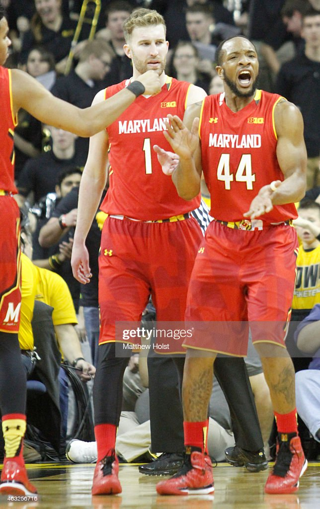 Guard <a gi-track='captionPersonalityLinkClicked' href=/galleries/search?phrase=Dez+Wells&family=editorial&specificpeople=9960403 ng-click='$event.stopPropagation()'>Dez Wells</a> #44 of the Maryland Terrapins reacts after drawing a foul in the first half against the Iowa Hawkeyes at Carver-Hawkeye Arena on February 8, 2015 in Iowa City, Iowa.