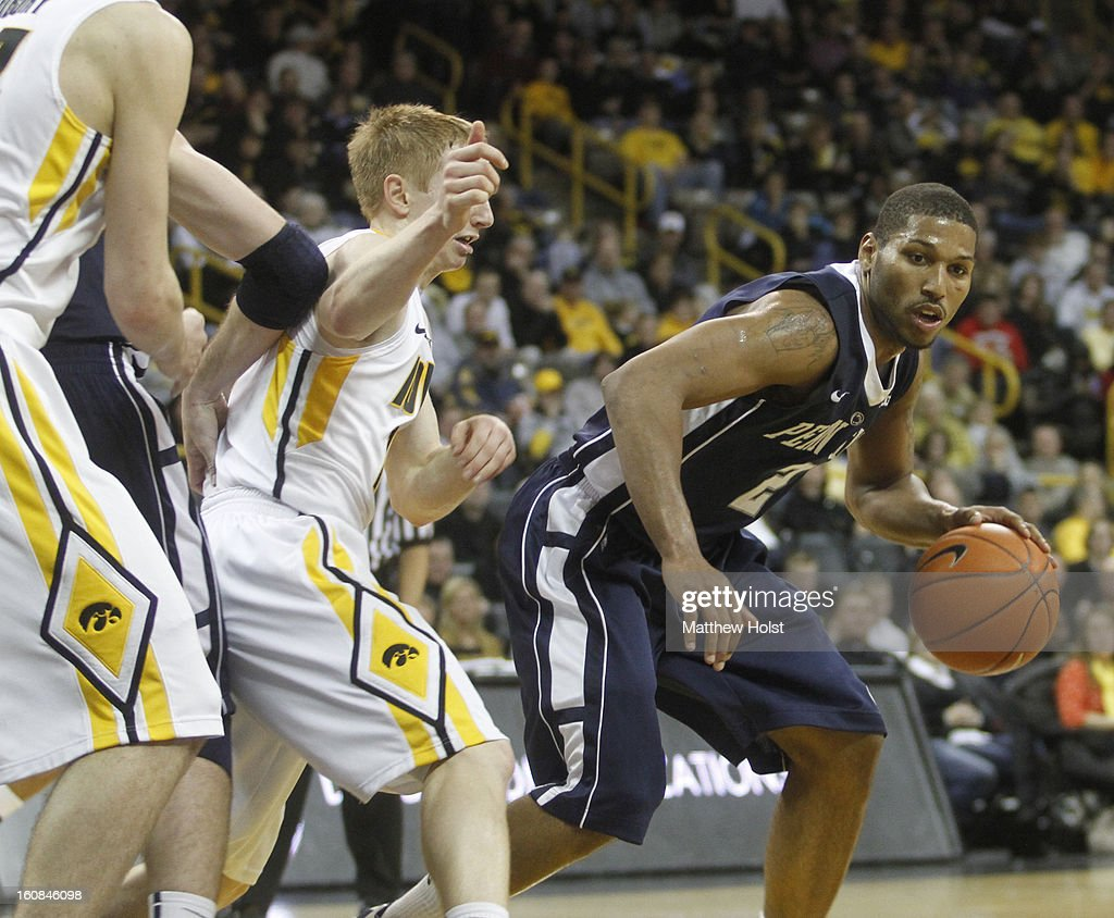Guard D.J. Newbill #2 of the Penn State Nittany Lions drives to the basket during the first half against guard Mike Gesell #10 of the Iowa Hawkeyes on January 31, 2013 at Carver-Hawkeye Arena in Iowa City, Iowa. Iowa won 76-67.
