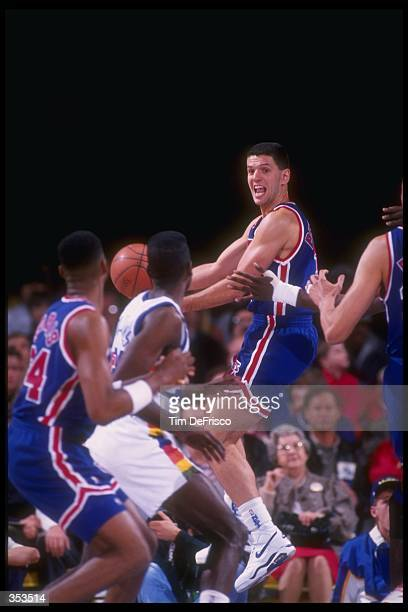 Guard Drazen Petrovic of the New Jersey Nets moves the ball during a game against the Denver Nuggets at the Byrne Meadowlands Arena in East...