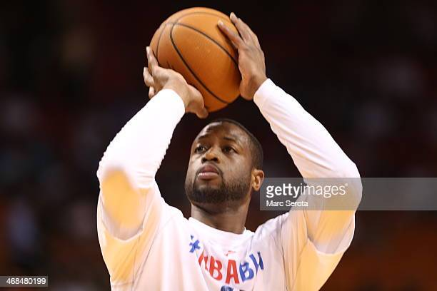 Guard Dwyane Wade of the Miami Heat prepares to play prior to a game against the Detroit Pistons at AmericanAirlines Arena on February 3 2014 in...