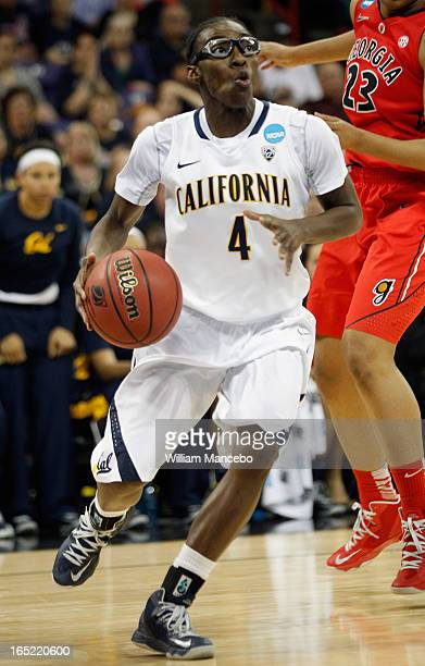 Guard Eliza Pierre of the California Golden Bears controls the ball against the Georgia Lady Bulldogs during the NCAA Division I Women's Basketball...