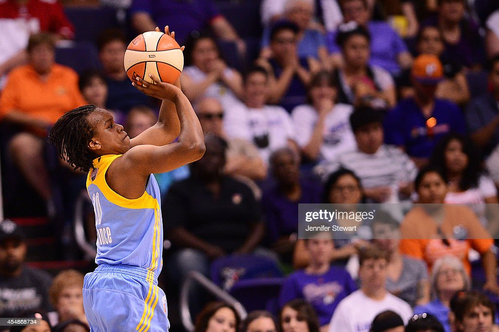 Guard Epiphanny Prince of the Chicago Sky shoots the ball against the Phoenix Mercury in the first half during game one of the WNBA Finals at US...