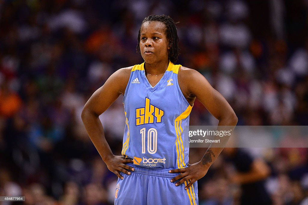 Guard Epiphanny Prince of the Chicago Sky stands on the court in the second half during game one of the WNBA Finals against the Phoenix Mercury at US...