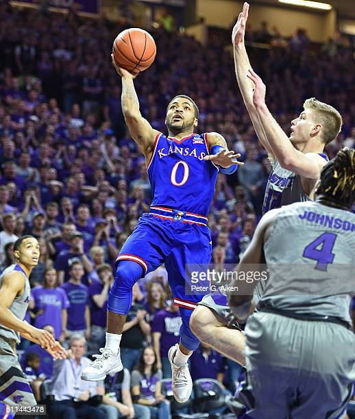 Guard Frank Mason III of the Kansas Jayhawks puts up a shot against the Kansas State Wildcats during the first half on February 20 2016 at Bramlage...