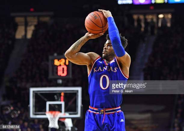 Guard Frank Mason III of the Kansas Jayhawks takes a shot against the Kansas State Wildcats during the first half on February 6 2017 at Bramlage...